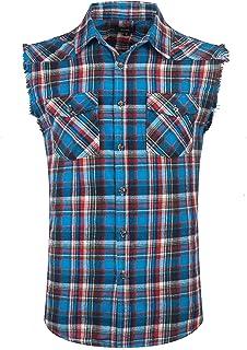 SOOPO Camisa Hombre a Cuadros Shirt sin Manga Estampado de Cuadros de Colores para Hombre, Camiseta Bonita y Cómoda para V...