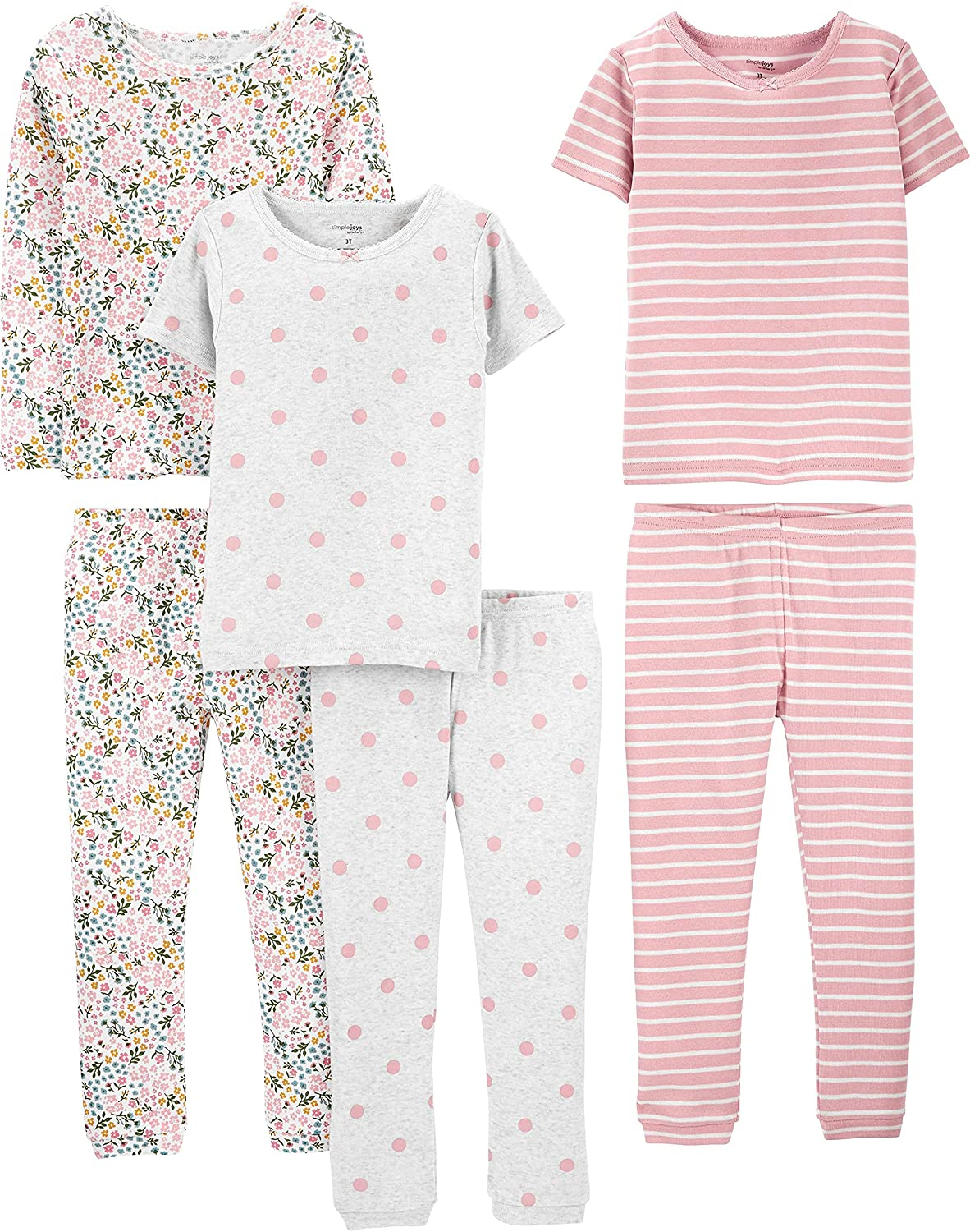 Simple Joys by Carter's Baby, Toddler, and Little Girls' 6-Piece Snug-fit Cotton Pajama Set