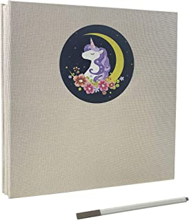 Magnetic Self-Stick Page Photo Album with Unicorn Pattern Linen Cover 20 Sheets 40 Pages DIY Birthday Gift for Boys Girls(Beige)