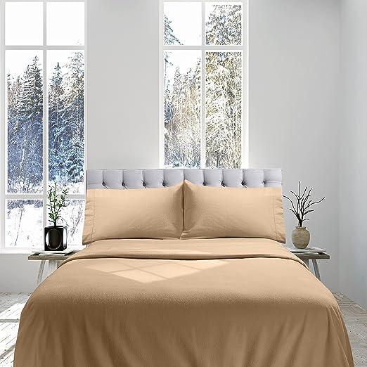 Amazon Com Genteele 100 Cotton Flannel Sheet Set Luxurious Heavyweight Ultra Soft Premium Velvety Quality 3 Piece Set Twin Camel Home Kitchen