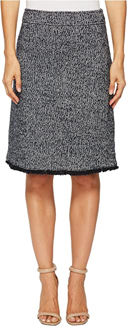 Ellen Tracy - Tweed A-Line Skirt with Fringe Trim