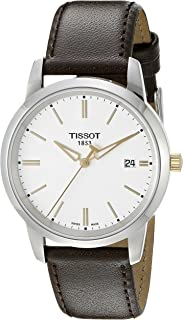 Men's T0334102601101 T-Classic Stainless Steel Watch With Brown Leather Band