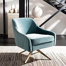 Safavieh Couture Leyla Modern Glam Channeled Seafoam Velvet Accent Chair