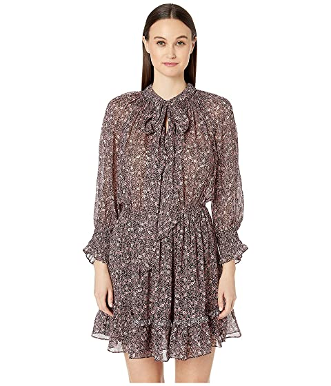 ML Monique Lhuillier Long Sleeve Printed Dress