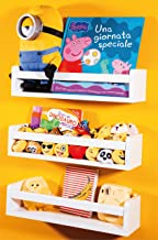 NATURE SUPPLIES Set of 3 White Nursery Room Shelves - Solid Wood Ideal for Books, Toys and Decor