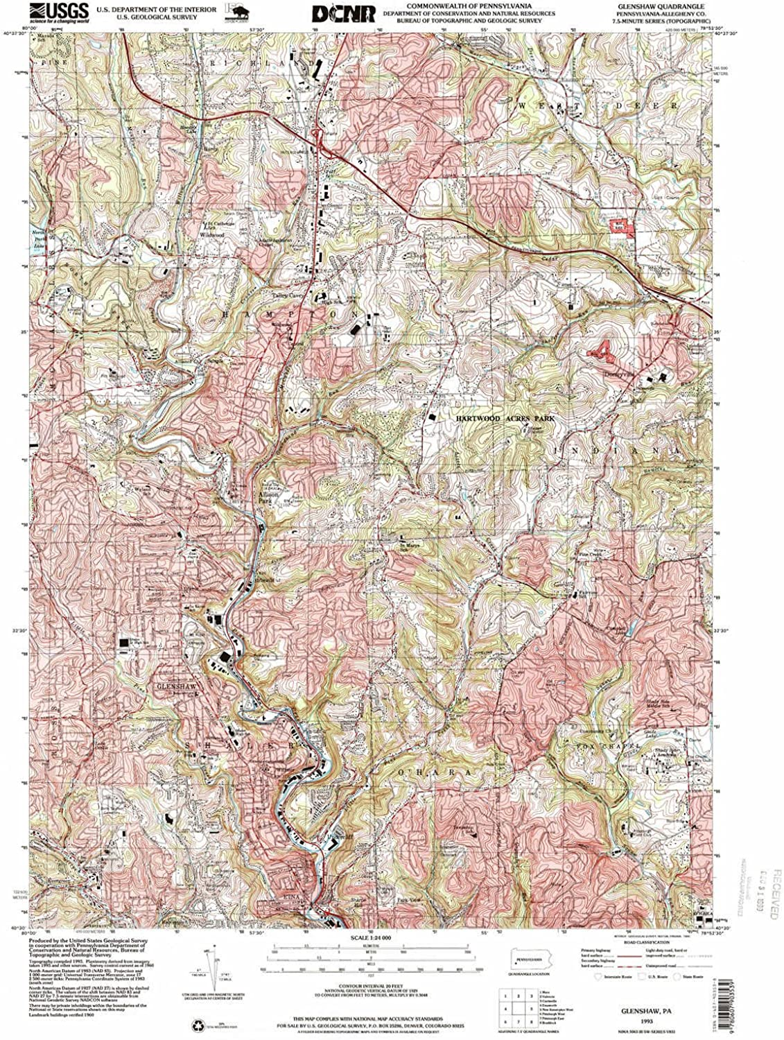 Glenshaw PA topo map, 1 24000 Scale, 7.5 X 7.5 Minute, Historical, 1993, Updated 1999, 27 x 22 in