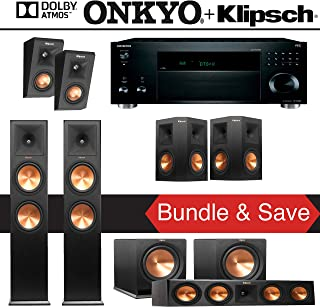 Klipsch RP-280F 5.2.2-Ch Reference Premiere Dolby Atmos Home Theater Speaker System with Onkyo TX-RZ820 7.2-Ch Network AV Receiver