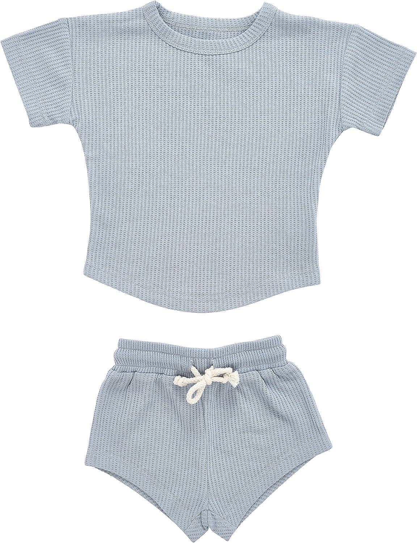 Three Little Tots Baby Boys Girls Summer Waffle Toddler Organic Cotton Modern Top & Bottom 2pc Set