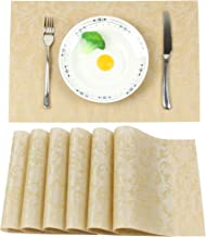 Ivalue PVC Place Mats Set of 6 Woven Vinyl Floral Placemats Heat Resistant Dining Table Mats for Kitchen