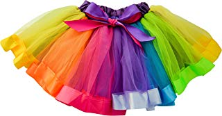 Dancina Little Girls Unicorn Rainbow Tutu Layered Ballet Tulle Skirt w/Underskirt