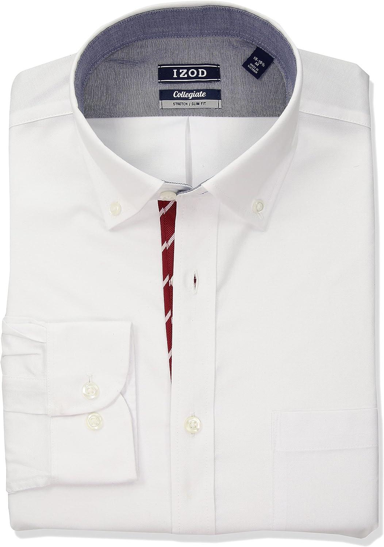 IZOD Men's Dress Shirt Slim Fit Collegiate Stretch Solid