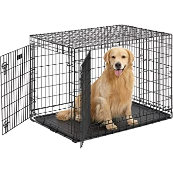"Ultima Pro (Professional Series & Most Durable MidWest Dog Crate) Extra-Strong Double Door Folding Metal Dog Crate w/ Divider Panel, Floor Protecting ""Roller Feet"" & Leak-Proof Plastic Pan"