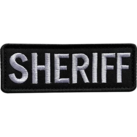 """SHERIFF BACK PANEL BLACK BROWN LETTERS LARGE 10 7//8/"""" X 4/"""" PATCH"""