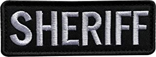 """uuKen Regular Embroidery Cloth Fabric Sheriff Patch Black and White for Law Enforcement Vest Jacket Uniform Plate Carrier Back Panel (Black and White, Regular 4""""x1.4"""")"""