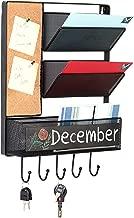 MyGift Wall Mounted Mesh Metal Hanging Mail Sorter, Storage Basket w/Chalkboard, Cork Board & Key Hooks, Black