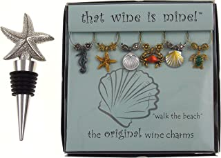 Starfish Wine Bottle Stopper & Beach Themed Wine Charm Gift Set Bundle