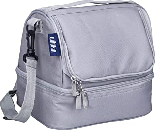 Wildkin 52801 Two Compartment Lunch Bag, Insulated, Moisture Resistant & Easy to Clean, Complete with a Microwave & Dishwasher-Safe Container, Gray, One Size