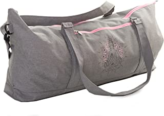 Large Yoga Mat Tote Bag Full Zipper Closing Adjustable Strap Many Compartments Easy To Carry Fits Thick Mats Grey
