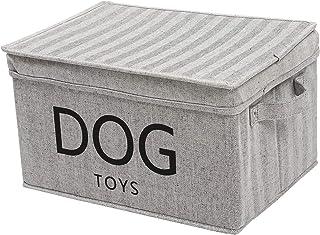 Geyecete Canvas Dog Toy Basket with Lid - Pet Toy and Accessory Storage Bin Collapsible Organizer Storage Basket Striped G...