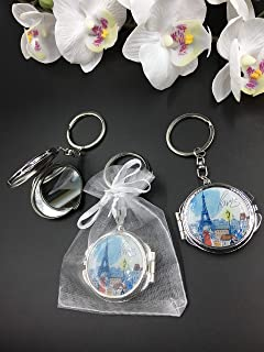 12 New Paris Design Mirror Keychain Party Favor Set With Organza Bags
