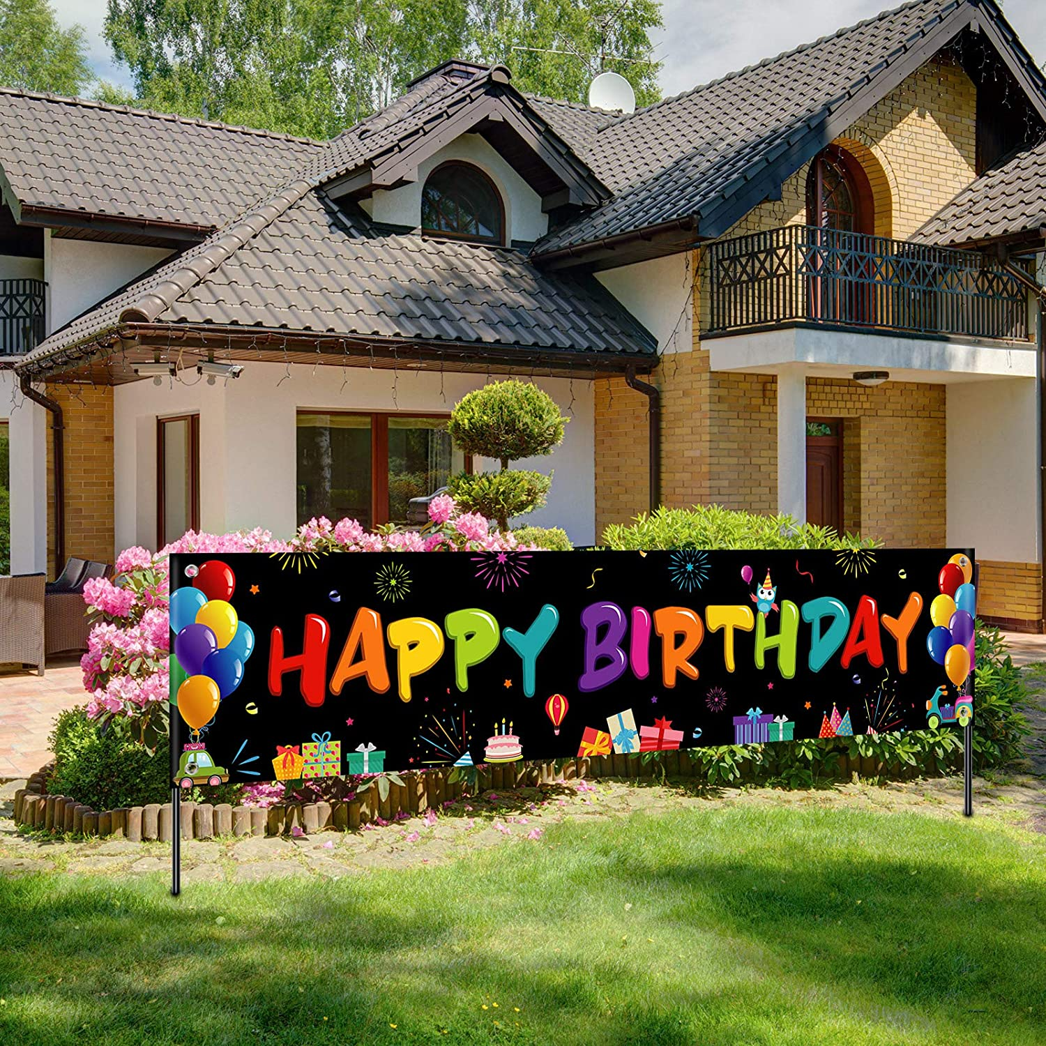 Large Fabric Happy Birthday Sign Backdrop Background Colorful Happy Birthday Banner Happy Birthday Yard Sign for Kids Birthday Party Decorations Girls Boys Bday Decor 71 x 15.7 inches Dark