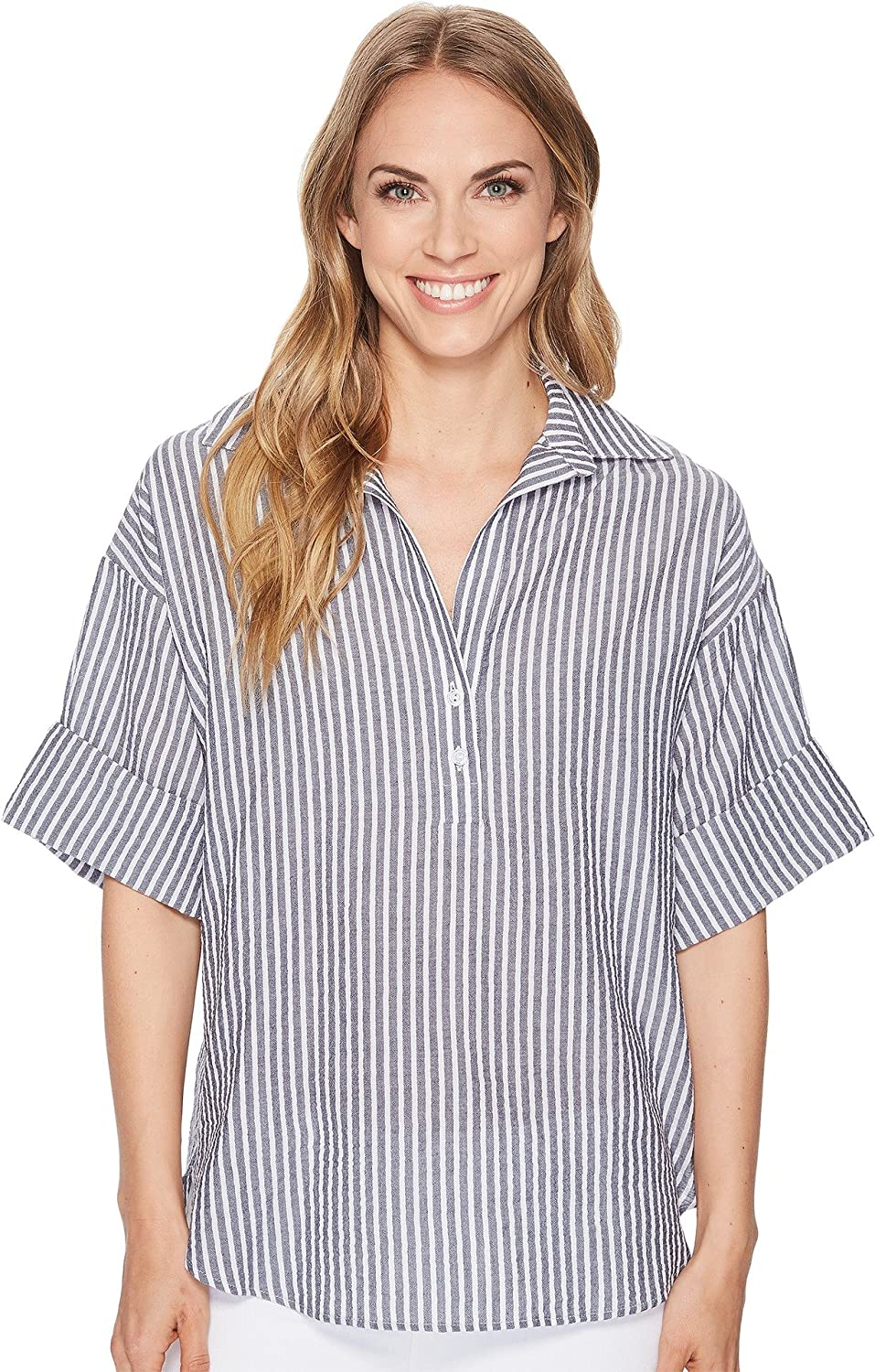 Elliott Lauren Womens Pucker Stripe Shirt