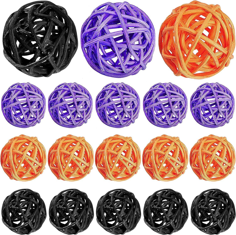 18 Pieces Halloween Wicker Rattan Balls Natural Orbs Vase Filler