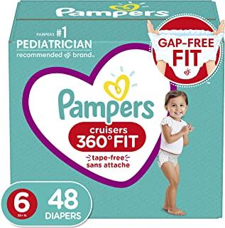 Pampers Diapers Size 6 - Cruisers 360˚ Fit Disposable Baby Diapers with Stretchy Waistband, 48 Count, Super Pack (Packaging May Vary)