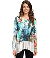 Karen Kane - Painted Hydrangea Sheer Hem Top