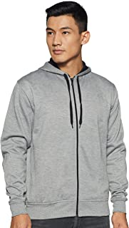 WOKNIT Men's Hooded Zipper Full Sleeve Grey Sweatshirt