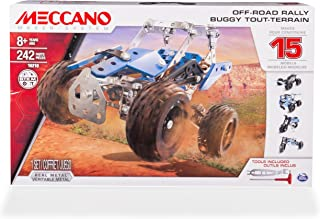 MECCANO Erector, Off-Road Rally, 15 Vehicle Model Building Set, 242 Pieces, for Ages 8 and up, STEM Construction Education Toy