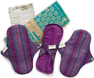 軽い日用3枚セット 南インド「Eco Femme」布ナプキン 洗えるオーガニックコットン(肌面色付き)防水なし・内側に3層のフランネル使用