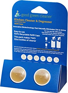 Good Green Cleaner Kitchen Cleaner & Degreaser Refill Set -2 Recyclable PODs of Concentrate to Refill Your Starter Set Bottle and Make 2-32oz Ready to Use Cleaner