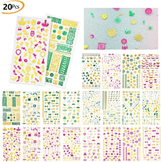 Phogary 3D Nail Art Stickers Decals 20 Sheets (1300+Designs), Pink Green Gold Nail Art Sticker False Nail Manicure Decals Girls