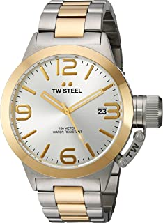 TW Steel Canteen Bracelet Unisex Quartz Watch with Silver Dial Analogue Display and Silver Stainless Steel Bracelet