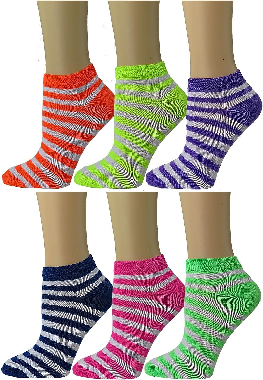 Womens colorful Ankle socks Low Cut Summer Socks 6pack by DEBRA WEITZNER