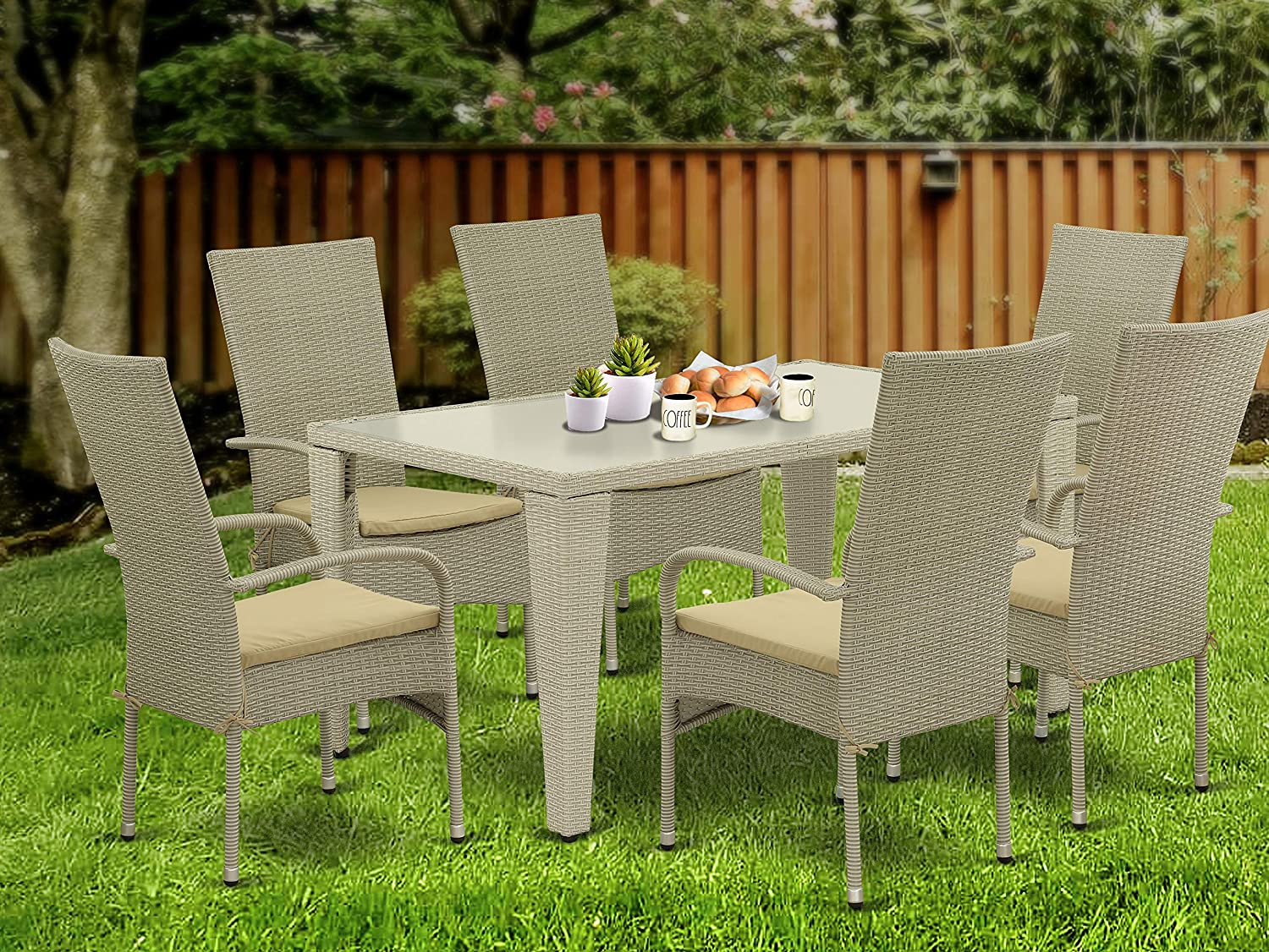 East West Furniture GUOS703A Cheap super special price 7Pc Courier shipping free shipping Color Di Wicker Natural Outdoor