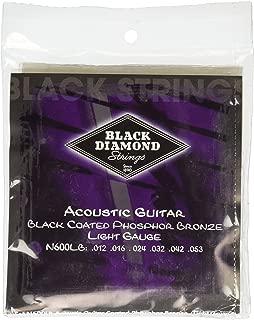 Black Diamond N600LB Phosphor Bronze Black Coated Acoustic Guitar Strings, Light
