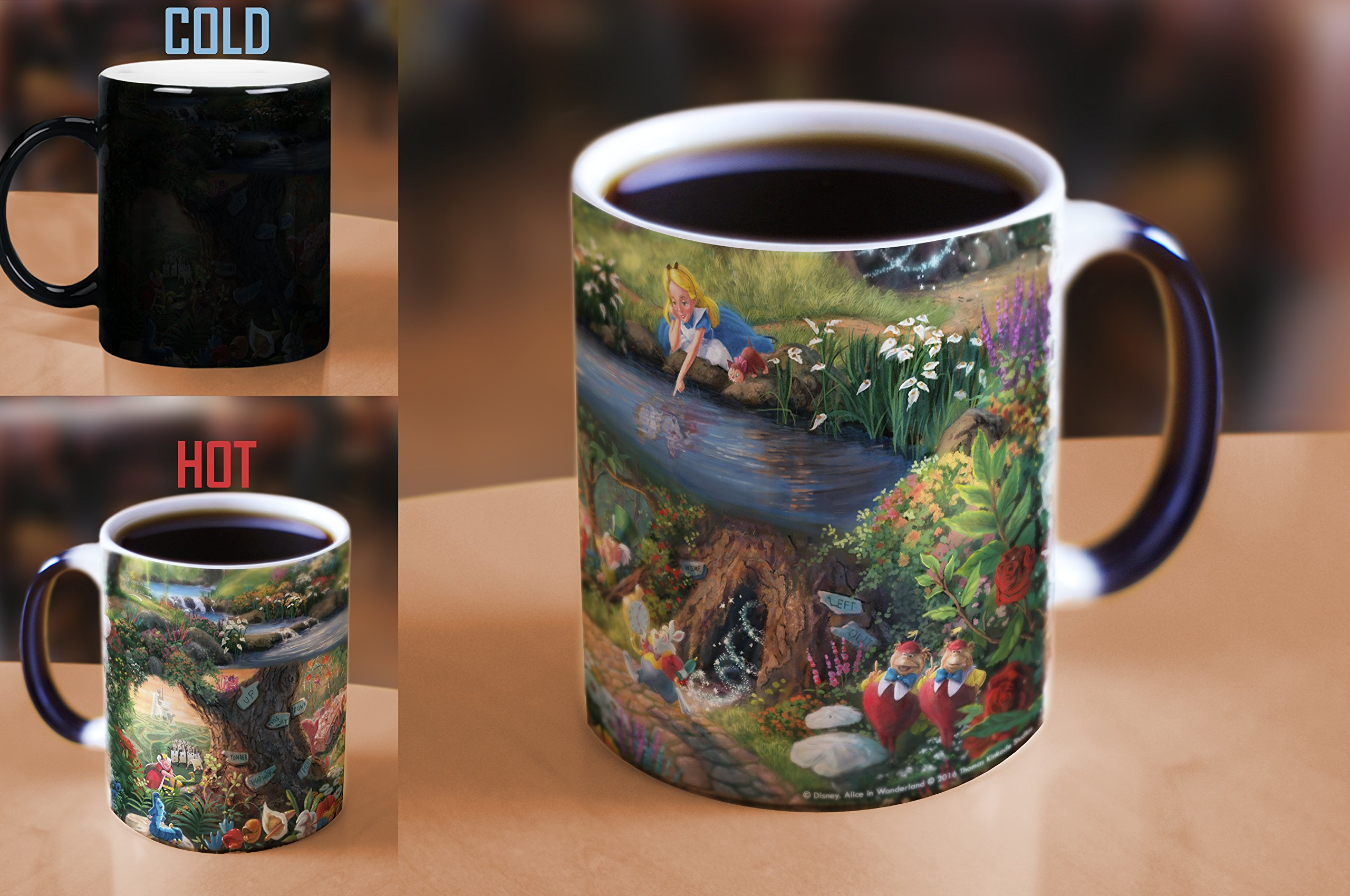 Disney - Alice in Wonderland - Thomas Kinkade - One 11 oz Morphing Mugs Color Changing Heat Sensitive Ceramic Mug – Image Revealed When HOT Liquid Is Added!