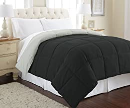 Amrapur Overseas Down Alternative Microfiber Quilted Reversible Comforter/Duvet Insert Ultra Soft Hypoallergenic Bedding-Medium Warmth for All Seasons, Full/Queen, Anthracite/Silver