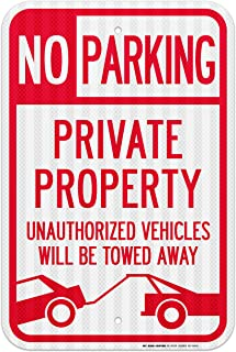 No Parking Private Property Unauthorized Vehicles Will Be Towed Away Sign- 12