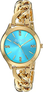 August Steiner Women's Genuine Diamond Colored Dial and Steel Chain Link Bracelet Watch