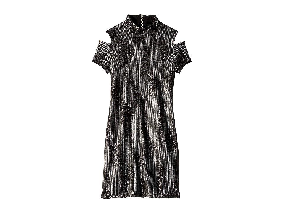 Us Angels Short Sleeve Cold Shoulder Bodycon Dress (Big Kids) (Black/Silver) Girl