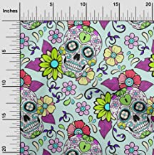 oneOone Cotton Cambric Mint Fabric Floral & Skull Fabric for Sewing Printed Craft Fabric by The Yard 42 Inch Wide
