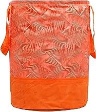 Kuber Industries Laheriya Printed Waterproof Canvas Laundry Bag, Toy Storage, Laundry Basket Organizer 45 L (Orange) CTKTC134628