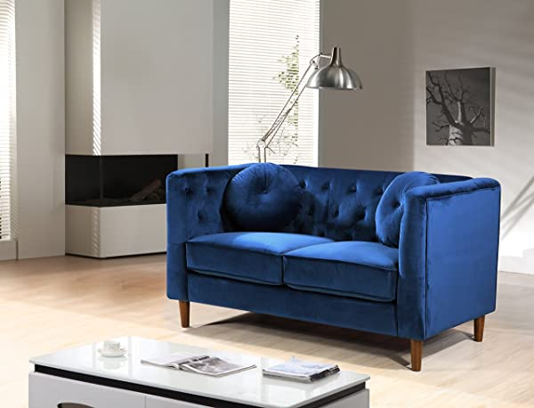 Container Furniture Direct S5373 L Kitts Velvet Upholstered Modern Chesterfield Loveseat Blue