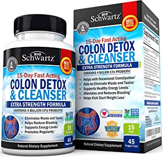Colon Cleanser & Detox for Weight Loss. 15 Day Extra Strength Detox Cleanse with Probiotic for Constipation Relief. Pure C...