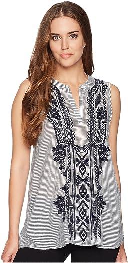 Artisan Sleeveless Stripe Tunic with Navy Embroidery