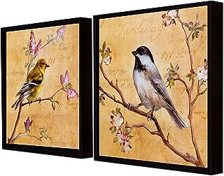 Painting Mantra Bird Theme Printed Set of 2 Wall Art Print -13x13 Inch