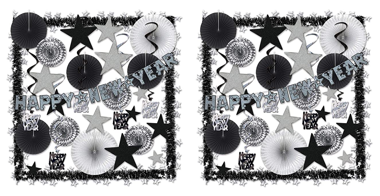 Beistle 80888-S Shimmering Silver NY Decorating Kit (Pack of 2), Assorted Black
